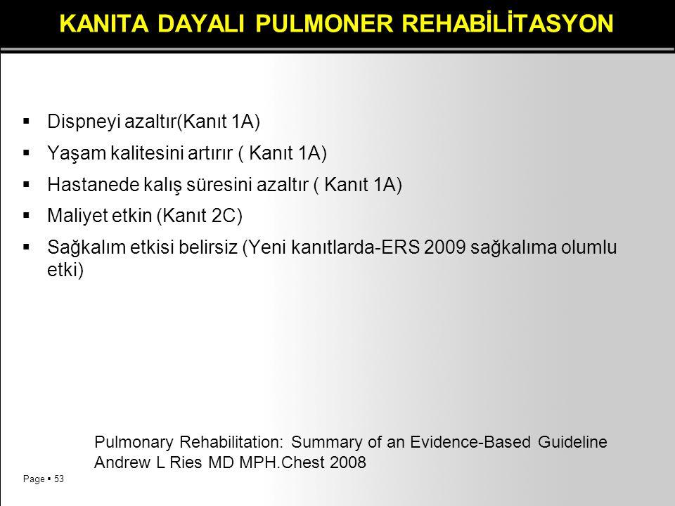 Page  53 KANITA DAYALI PULMONER REHABİLİTASYON  Dispneyi azaltır(Kanıt 1A)  Yaşam kalitesini artırır ( Kanıt 1A)  Hastanede kalış süresini azaltır