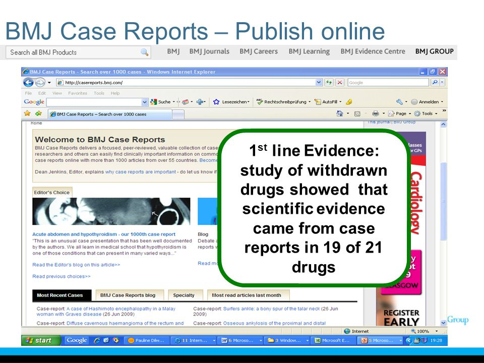 1 st line Evidence: study of withdrawn drugs showed that scientific evidence came from case reports in 19 of 21 drugs BMJ Case Reports – Publish onlin