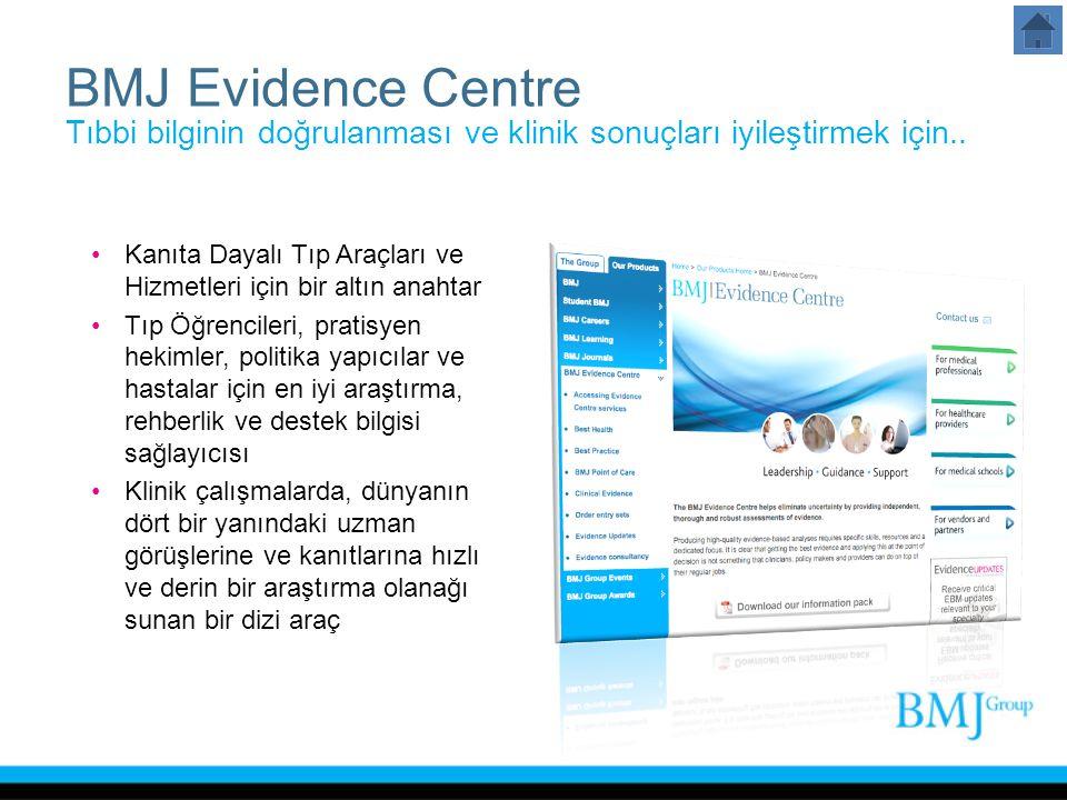 BMJ Evidence Centre Tıbbi bilginin doğrulanması ve klinik sonuçları iyileştirmek için.. Kanıta Dayalı Tıp Araçları ve Hizmetleri için bir altın anahta