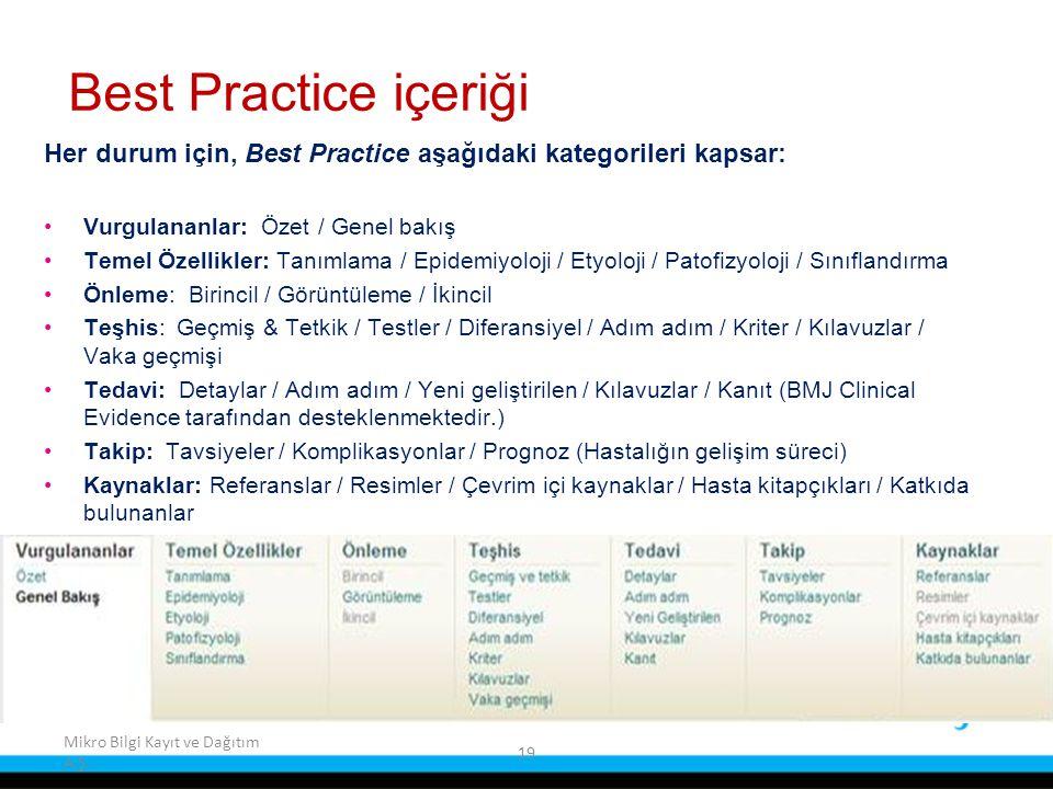 19 Mikro Bilgi Kayıt ve Dağıtım A.Ş. Best Practice içeriği Her durum için, Best Practice aşağıdaki kategorileri kapsar: Vurgulananlar: Özet / Genel ba