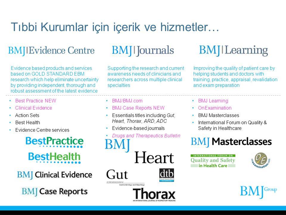 ANKOS BMJ Group Konsorsiyumu 2011'de sona eren BMJ Journals ve Clinical Evidence için 3 yıllık anlaşma 2012 için yeni anlaşma Yeni Ürünlerimiz: –Best Practice (2009'da başlayan, Sağlık Bakanlığı EAH için hem bölgesel hem de diğer ülkelerde geniş olarak kullanılabilir, uluslararası Klinik Karar Destek Veritabanı)Best Practice –BMJ Case Reports (ALPSP Best New Journal Ödülü) Dünyanın en geniş vaka raporu arşivi.