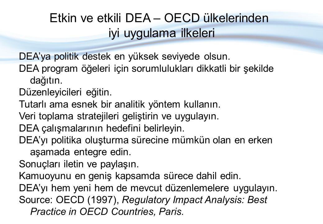 Etkin ve etkili DEA – OECD ülkelerinden iyi uygulama ilkeleri DEA'ya politik destek en yüksek seviyede olsun.