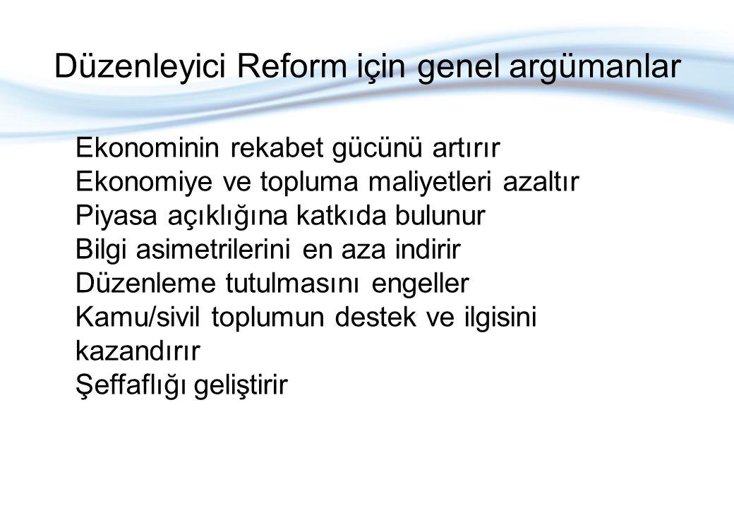 Düzenleyici Reform için genel argümanlar Ekonominin rekabet gücünü artırır Ekonomiye ve topluma maliyetleri azaltır Piyasa açıklığına katkıda bulunur Bilgi asimetrilerini en aza indirir Düzenleme tutulmasını engeller Kamu/sivil toplumun destek ve ilgisini kazandırır Şeffaflığı geliştirir