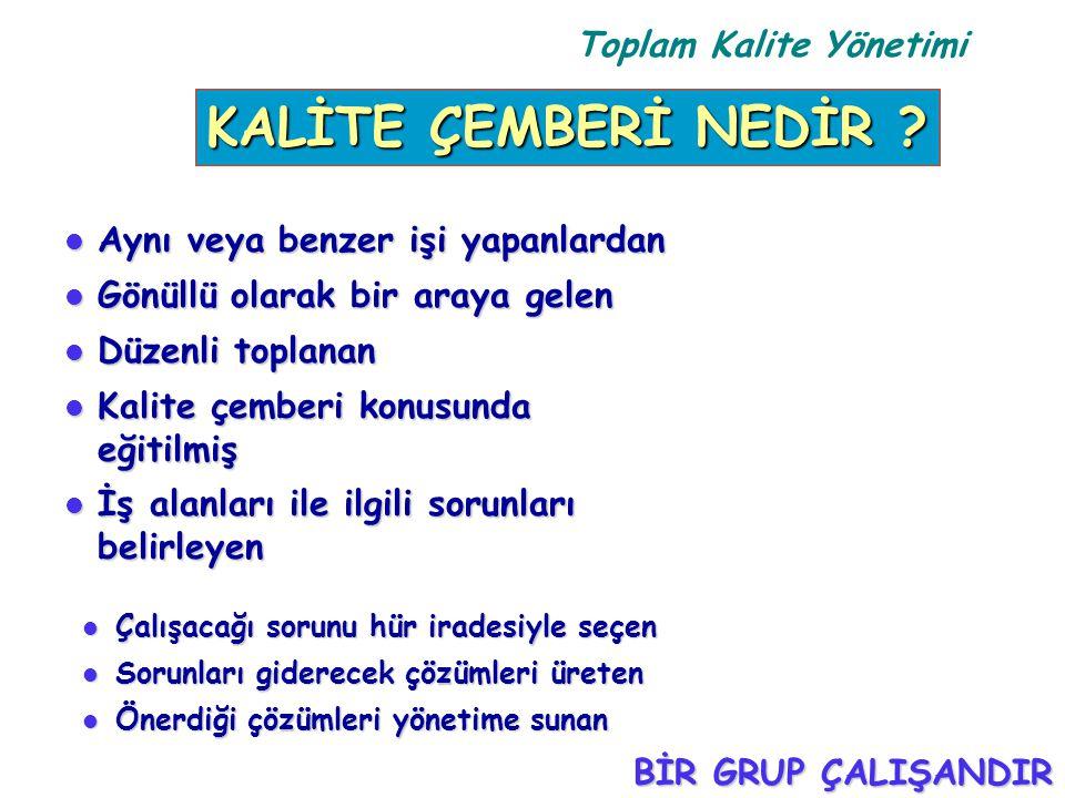 Toplam Kalite Yönetimi l Aynı veya benzer işi yapanlardan l Gönüllü olarak bir araya gelen l Düzenli toplanan l Kalite çemberi konusunda eğitilmiş l İ