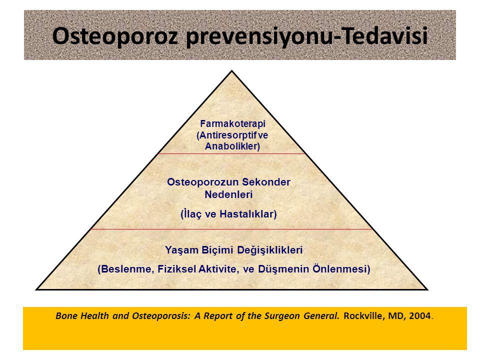 Yaşam Biçimi Değişiklikleri (Beslenme, Fiziksel Aktivite, ve Düşmenin Önlenmesi) Osteoporozun Sekonder Nedenleri (İlaç ve Hastalıklar) Farmakoterapi (