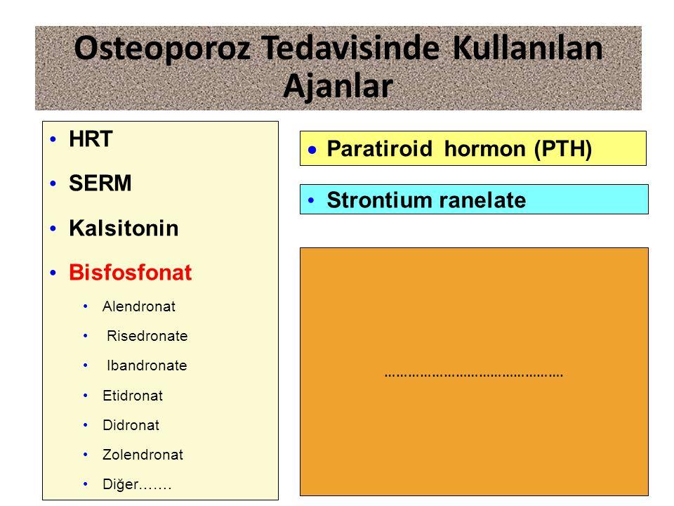 Osteoporoz Tedavisinde Kullanılan Ajanlar HRT SERM Kalsitonin Bisfosfonat Alendronat Risedronate Ibandronate Etidronat Didronat Zolendronat Diğer…….