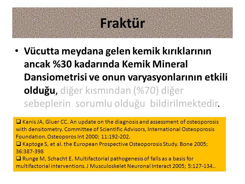 Fraktür Vücutta meydana gelen kemik kırıklarının ancak %30 kadarında Kemik Mineral Dansiometrisi ve onun varyasyonlarının etkili olduğu, diğer kısmından (%70) diğer sebeplerin sorumlu olduğu bildirilmektedir.