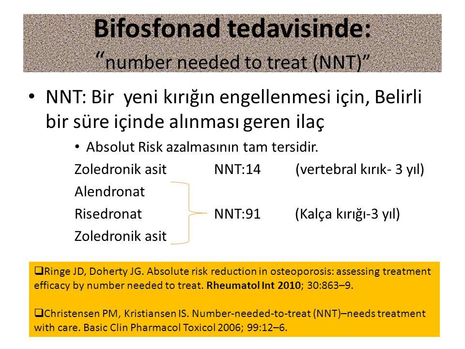 """Bifosfonad tedavisinde: """" number needed to treat (NNT)"""" NNT: Bir yeni kırığın engellenmesi için, Belirli bir süre içinde alınması geren ilaç Absolut R"""
