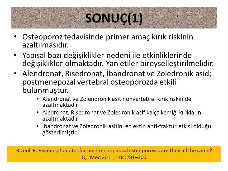 SONUÇ(1) Osteoporoz tedavisinde primer amaç kırık riskinin azaltılmasıdır.