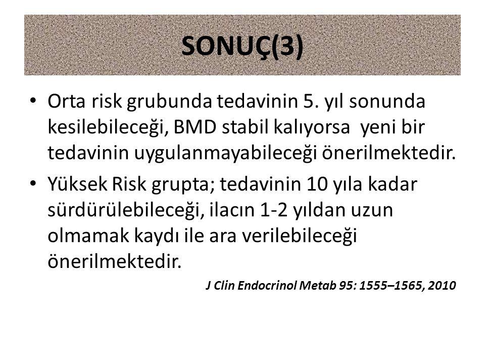 Orta risk grubunda tedavinin 5. yıl sonunda kesilebileceği, BMD stabil kalıyorsa yeni bir tedavinin uygulanmayabileceği önerilmektedir. Yüksek Risk gr