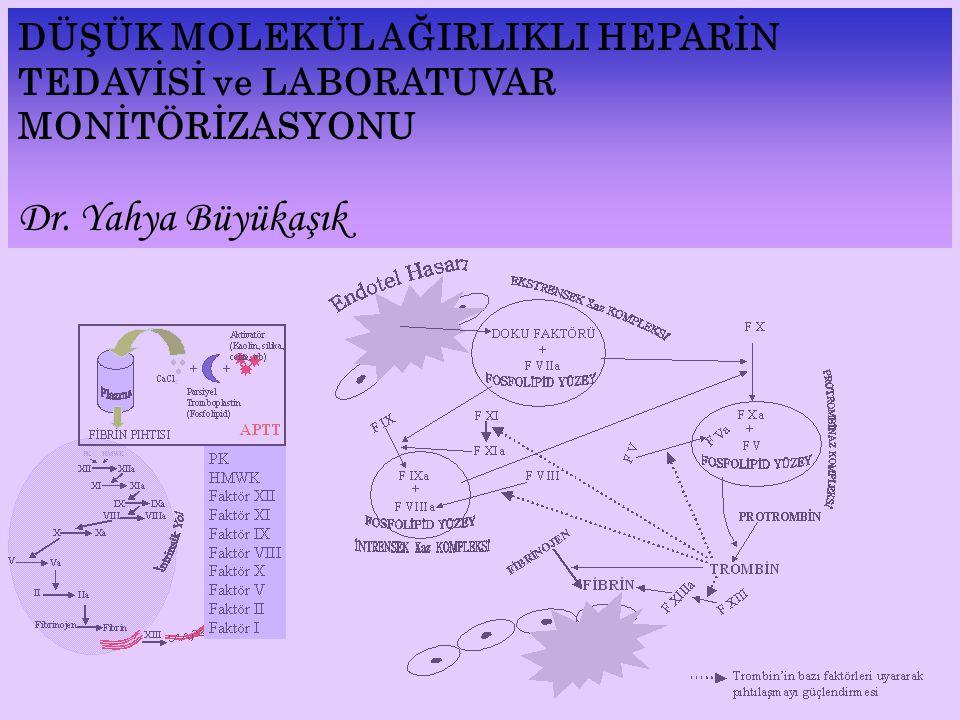 Heparin (12 - > 100 –ortalama 40 ila 50– monosakkarit ünitesi) Kimyasal ya da Enzimatik Depolimerizasyon Düşük Mol Ağırlıklı Heparin (4-40 –ortalama 13 ila 22– monosakkarit ünitesi)