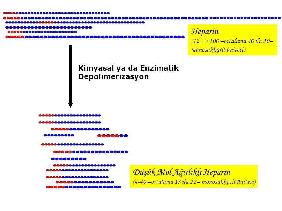 Heparin (12 - > 100 –ortalama 40 ila 50– monosakkarit ünitesi) Kimyasal ya da Enzimatik Depolimerizasyon Düşük Mol Ağırlıklı Heparin (4-40 –ortalama 1