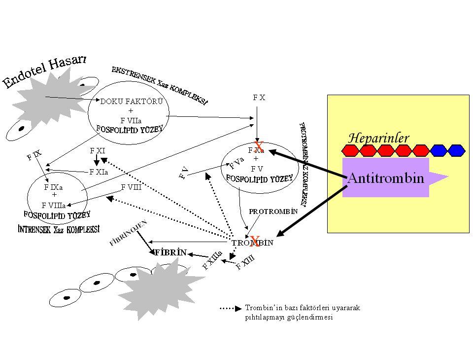 Antitrombin Trombin Antitrombin Xa Antitrombin Trombin Xa Antitrombin Trombin'in bağlanması için pentasakkarit bölgesi dışında en az 13 monosakkarit olmalıdır