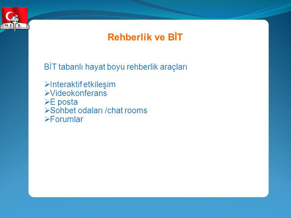 Rehberlik ve BİT BİT tabanlı hayat boyu rehberlik araçları  Interaktif etkileşim  Videokonferans  E posta  Sohbet odaları /chat rooms  Forumlar