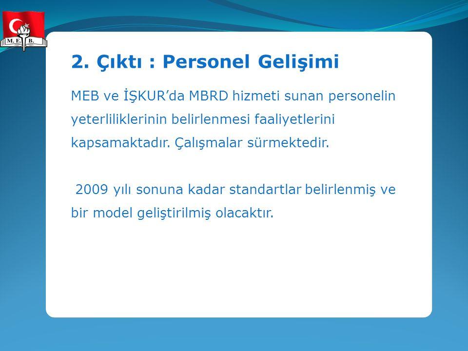 2. Çıktı : Personel Gelişimi MEB ve İŞKUR'da MBRD hizmeti sunan personelin yeterliliklerinin belirlenmesi faaliyetlerini kapsamaktadır. Çalışmalar sür