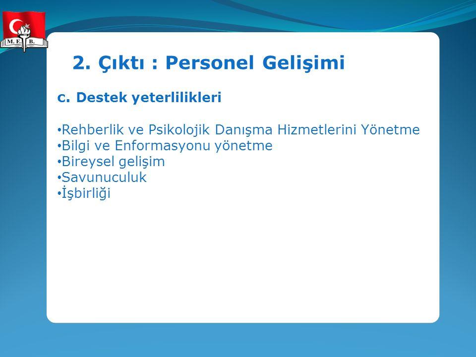 2. Çıktı : Personel Gelişimi c. Destek yeterlilikleri Rehberlik ve Psikolojik Danışma Hizmetlerini Yönetme Bilgi ve Enformasyonu yönetme Bireysel geli