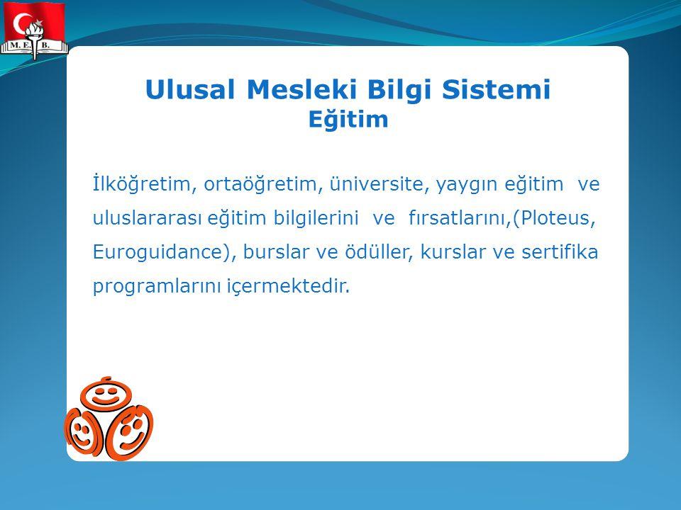 Ulusal Mesleki Bilgi Sistemi Eğitim İlköğretim, ortaöğretim, üniversite, yaygın eğitim ve uluslararası eğitim bilgilerini ve fırsatlarını,(Ploteus, Eu