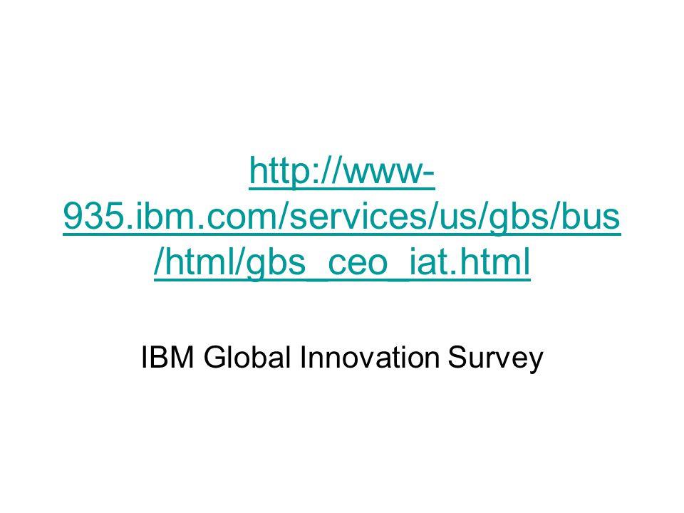 http://www- 935.ibm.com/services/us/gbs/bus /html/gbs_ceo_iat.html IBM Global Innovation Survey