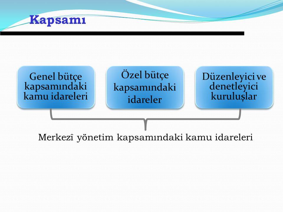 Merkezî yönetim kapsamındaki kamu idareleri Kapsamı Genel bütçe kapsamındaki kamu idareleri Özel bütçe kapsamındaki idareler Düzenleyici ve denetleyici kuruluşlar
