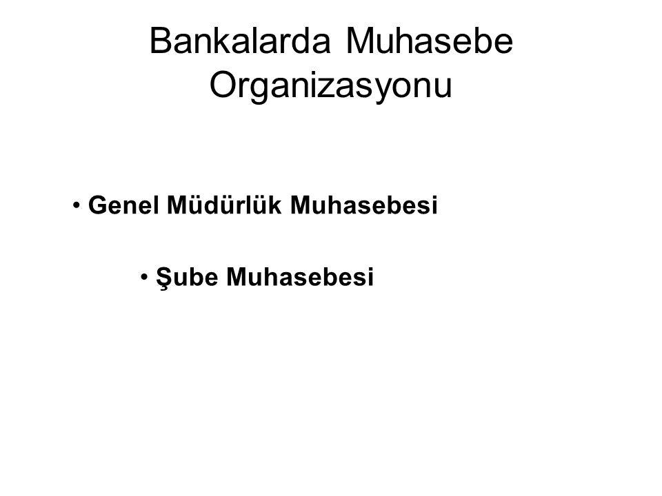 Bankalarda Muhasebe Organizasyonu Genel Müdürlük Muhasebesi Şube Muhasebesi