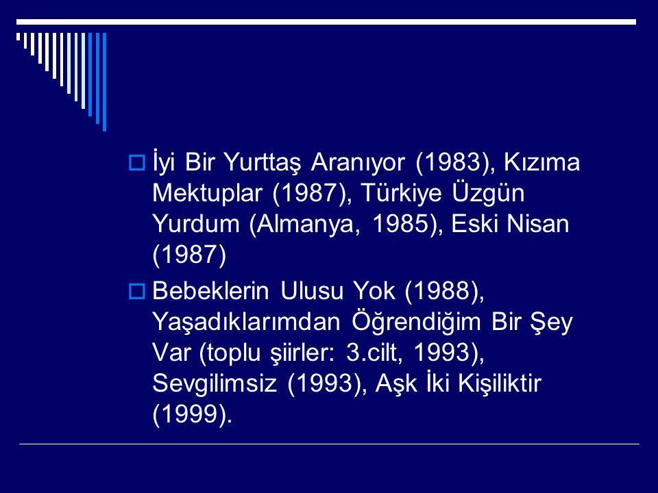  İyi Bir Yurttaş Aranıyor (1983), Kızıma Mektuplar (1987), Türkiye Üzgün Yurdum (Almanya, 1985), Eski Nisan (1987)  Bebeklerin Ulusu Yok (1988), Yaş