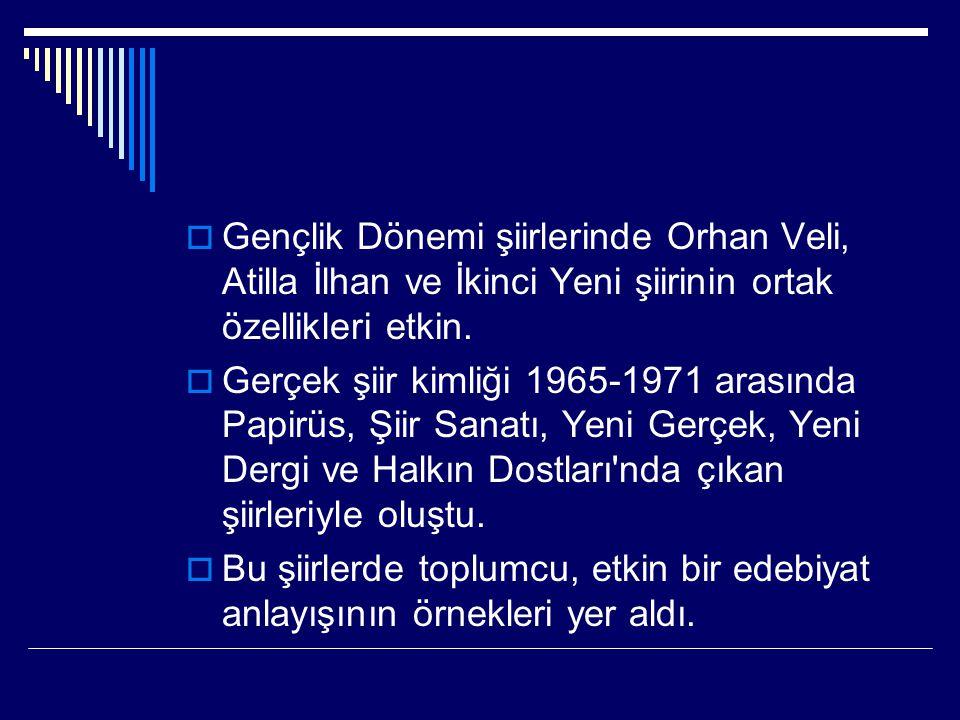  Gençlik Dönemi şiirlerinde Orhan Veli, Atilla İlhan ve İkinci Yeni şiirinin ortak özellikleri etkin.  Gerçek şiir kimliği 1965-1971 arasında Papirü