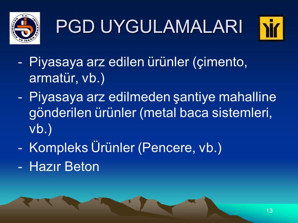 PGD UYGULAMALARI -Piyasaya arz edilen ürünler (çimento, armatür, vb.) -Piyasaya arz edilmeden şantiye mahalline gönderilen ürünler (metal baca sistemleri, vb.) -Kompleks Ürünler (Pencere, vb.) -Hazır Beton 13