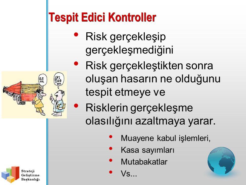 Tespit Edici Kontroller Risk gerçekleşip gerçekleşmediğini Risk gerçekleştikten sonra oluşan hasarın ne olduğunu tespit etmeye ve Risklerin gerçekleşm