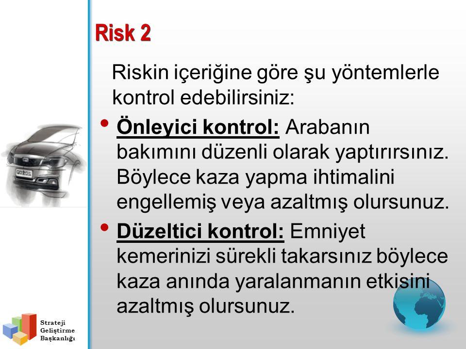 Risk 2 Riskin içeriğine göre şu yöntemlerle kontrol edebilirsiniz: Önleyici kontrol: Arabanın bakımını düzenli olarak yaptırırsınız. Böylece kaza yapm