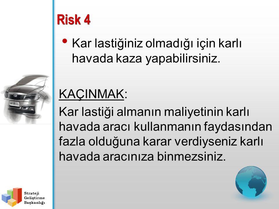 Risk 4 Kar lastiğiniz olmadığı için karlı havada kaza yapabilirsiniz. KAÇINMAK: Kar lastiği almanın maliyetinin karlı havada aracı kullanmanın faydası