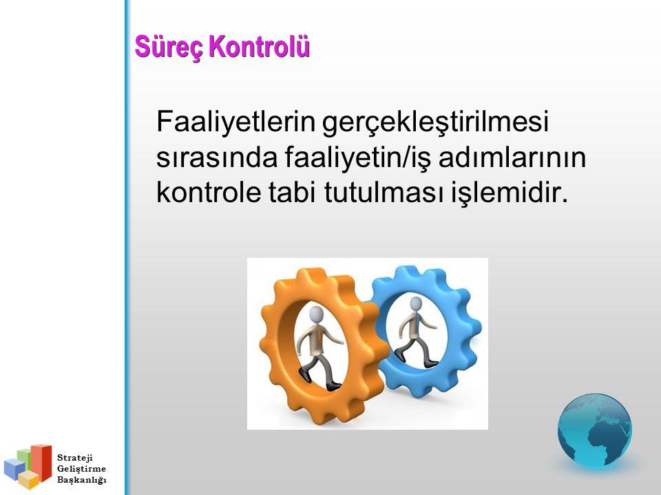 Süreç Kontrolü Faaliyetlerin gerçekleştirilmesi sırasında faaliyetin/iş adımlarının kontrole tabi tutulması işlemidir. Strateji Geliştirme Başkanlığı
