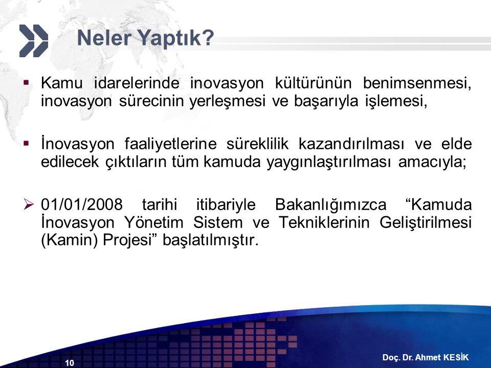 Doç. Dr. Ahmet KESİK 10  Kamu idarelerinde inovasyon kültürünün benimsenmesi, inovasyon sürecinin yerleşmesi ve başarıyla işlemesi,  İnovasyon faali