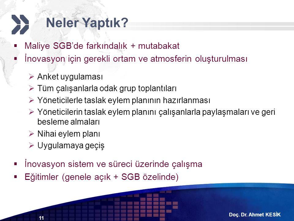 Doç. Dr. Ahmet KESİK 11  Maliye SGB'de farkındalık + mutabakat  İnovasyon için gerekli ortam ve atmosferin oluşturulması  Anket uygulaması  Tüm ça