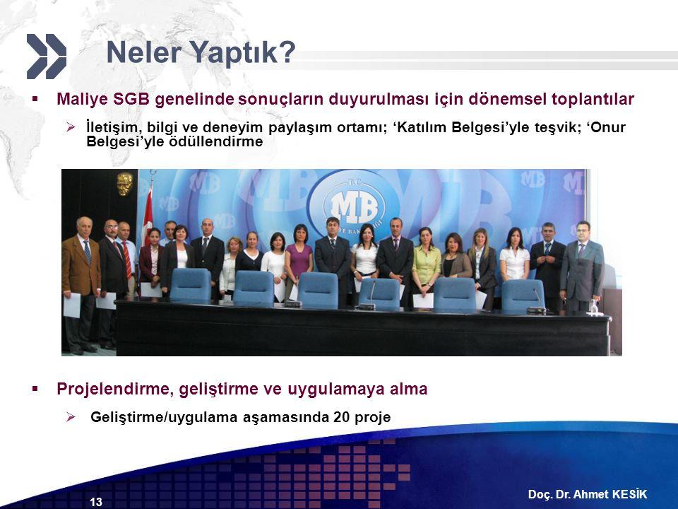 Doç. Dr. Ahmet KESİK 13  Maliye SGB genelinde sonuçların duyurulması için dönemsel toplantılar  İletişim, bilgi ve deneyim paylaşım ortamı; 'Katılım