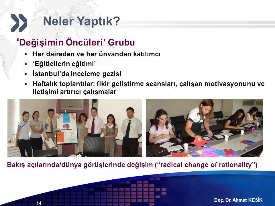 Doç. Dr. Ahmet KESİK 14 ' Değişimin Öncüleri' Grubu  Her daireden ve her ünvandan katılımcı  'Eğiticilerin eğitimi'  İstanbul'da inceleme gezisi 