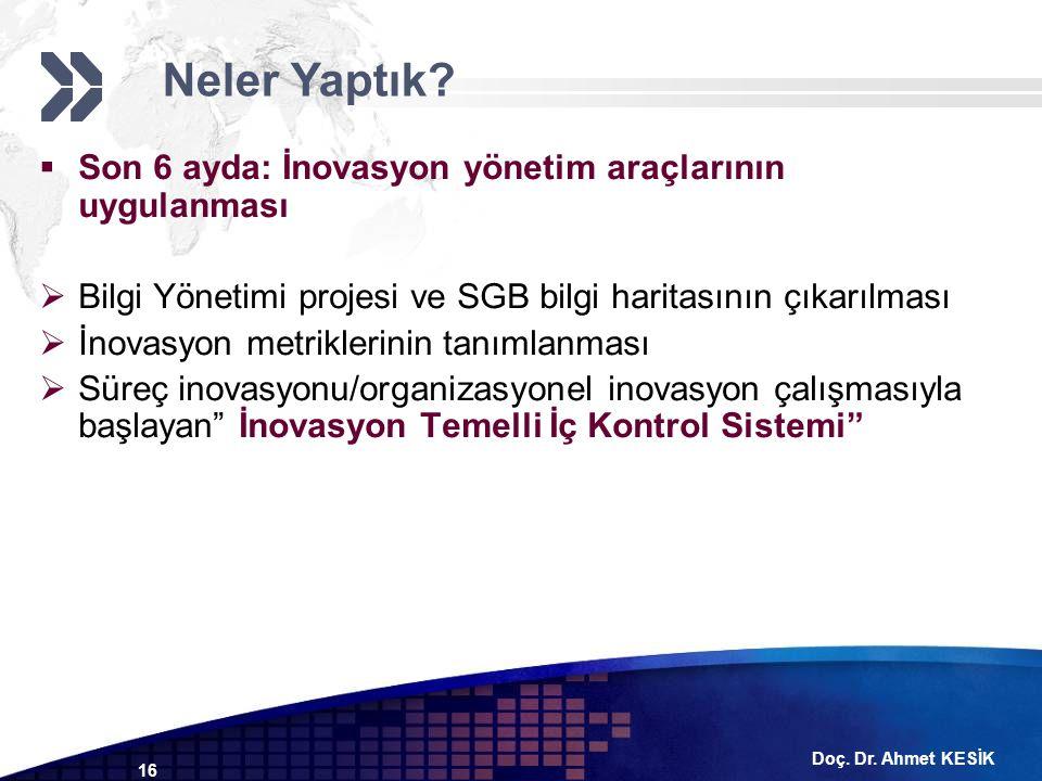 Doç. Dr. Ahmet KESİK 16  Son 6 ayda: İnovasyon yönetim araçlarının uygulanması  Bilgi Yönetimi projesi ve SGB bilgi haritasının çıkarılması  İnovas