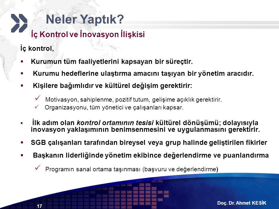 Doç. Dr. Ahmet KESİK 17 İç Kontrol ve İnovasyon İlişkisi İç kontrol,  Kurumun tüm faaliyetlerini kapsayan bir süreçtir.  Kurumu hedeflerine ulaştırm