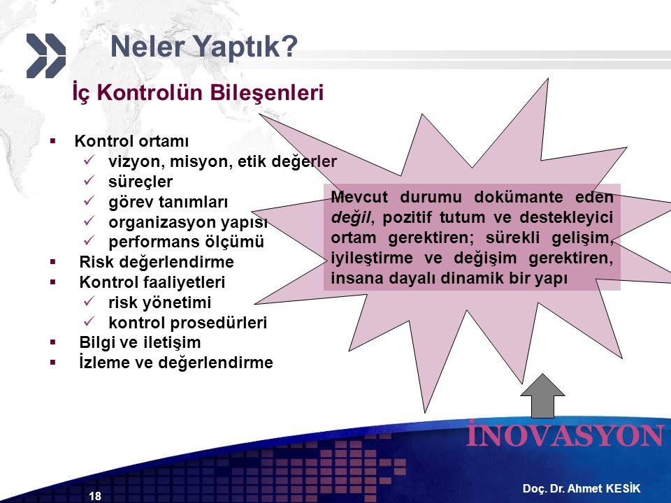Doç. Dr. Ahmet KESİK 18 İç Kontrolün Bileşenleri  Kontrol ortamı vizyon, misyon, etik değerler süreçler görev tanımları organizasyon yapısı performan
