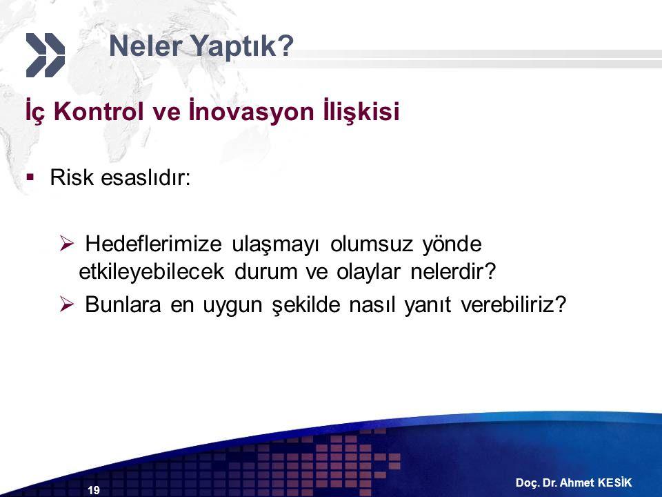 Doç. Dr. Ahmet KESİK 19 İç Kontrol ve İnovasyon İlişkisi  Risk esaslıdır:  Hedeflerimize ulaşmayı olumsuz yönde etkileyebilecek durum ve olaylar nel