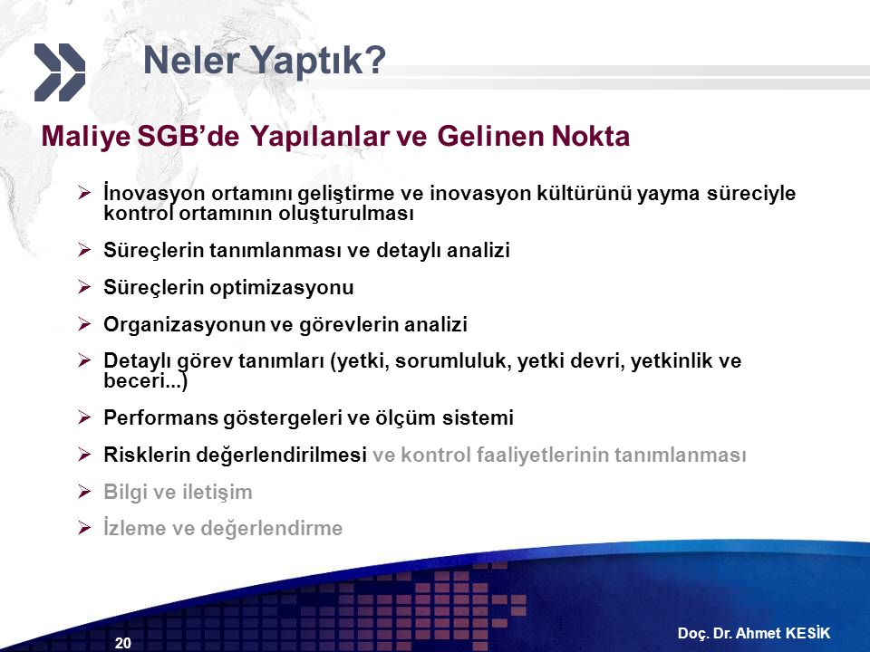 Doç. Dr. Ahmet KESİK 20 Maliye SGB'de Yapılanlar ve Gelinen Nokta  İnovasyon ortamını geliştirme ve inovasyon kültürünü yayma süreciyle kontrol ortam
