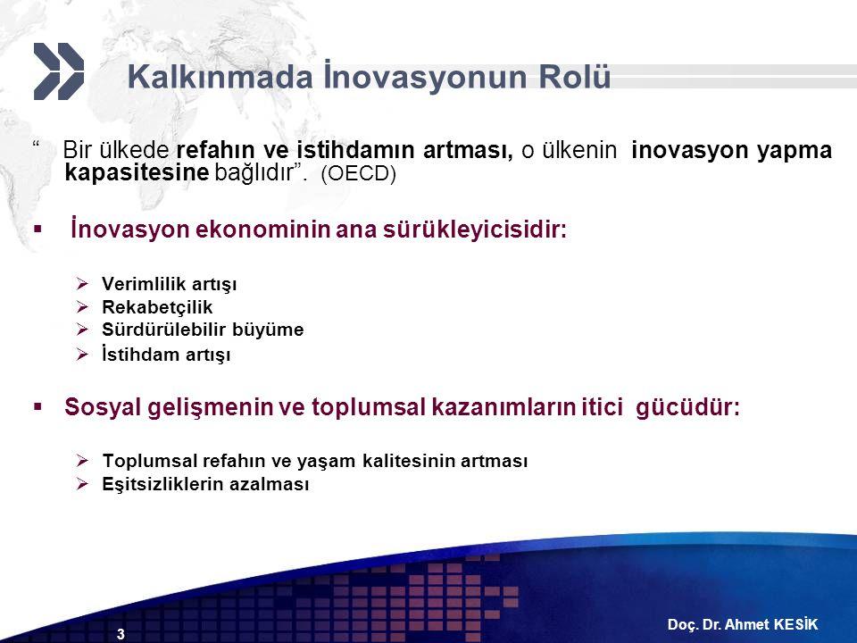 """Doç. Dr. Ahmet KESİK 3 """" Bir ülkede refahın ve istihdamın artması, o ülkenin inovasyon yapma kapasitesine bağlıdır"""". (OECD)  İnovasyon ekonominin ana"""