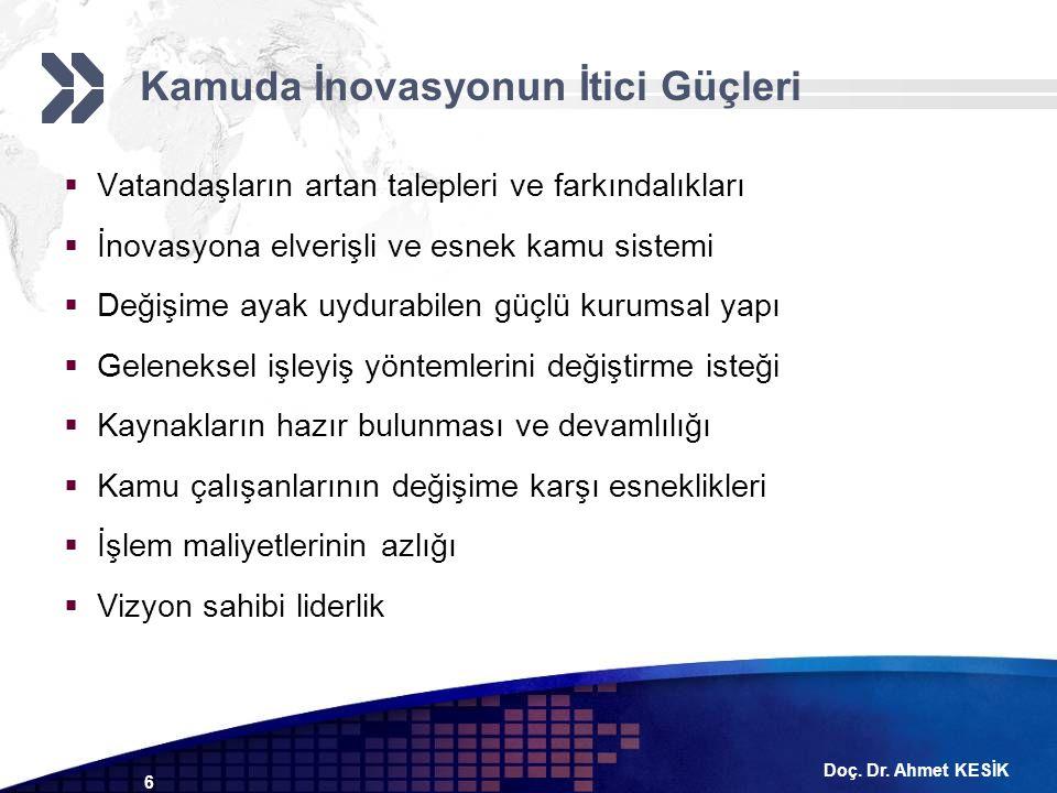 Doç. Dr. Ahmet KESİK 6  Vatandaşların artan talepleri ve farkındalıkları  İnovasyona elverişli ve esnek kamu sistemi  Değişime ayak uydurabilen güç