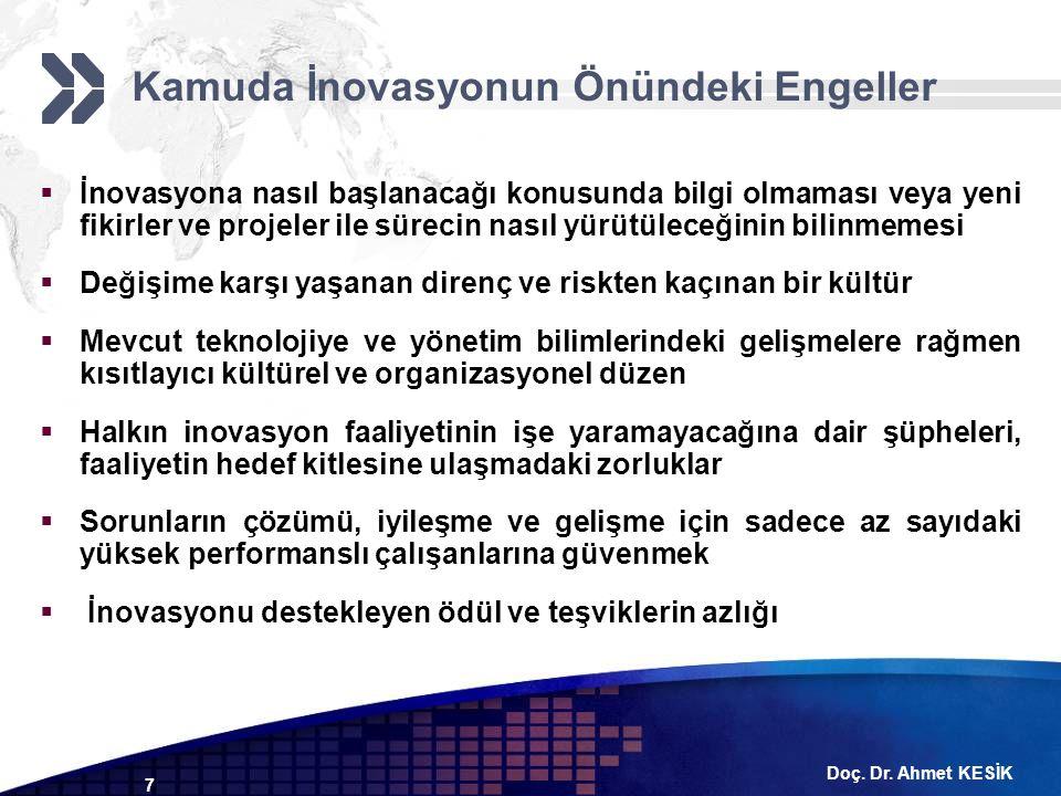 Doç. Dr. Ahmet KESİK 7  İnovasyona nasıl başlanacağı konusunda bilgi olmaması veya yeni fikirler ve projeler ile sürecin nasıl yürütüleceğinin bilinm