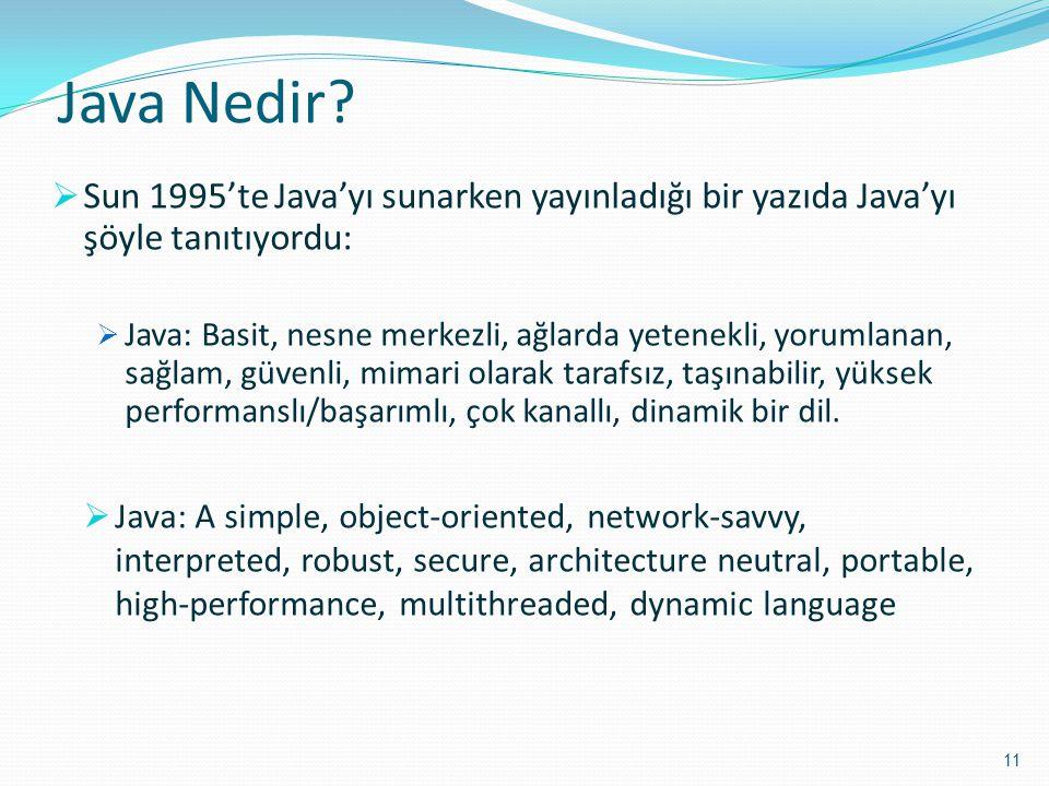 Java Nedir?  Sun 1995'te Java'yı sunarken yayınladığı bir yazıda Java'yı şöyle tanıtıyordu:  Java: Basit, nesne merkezli, ağlarda yetenekli, yorumla