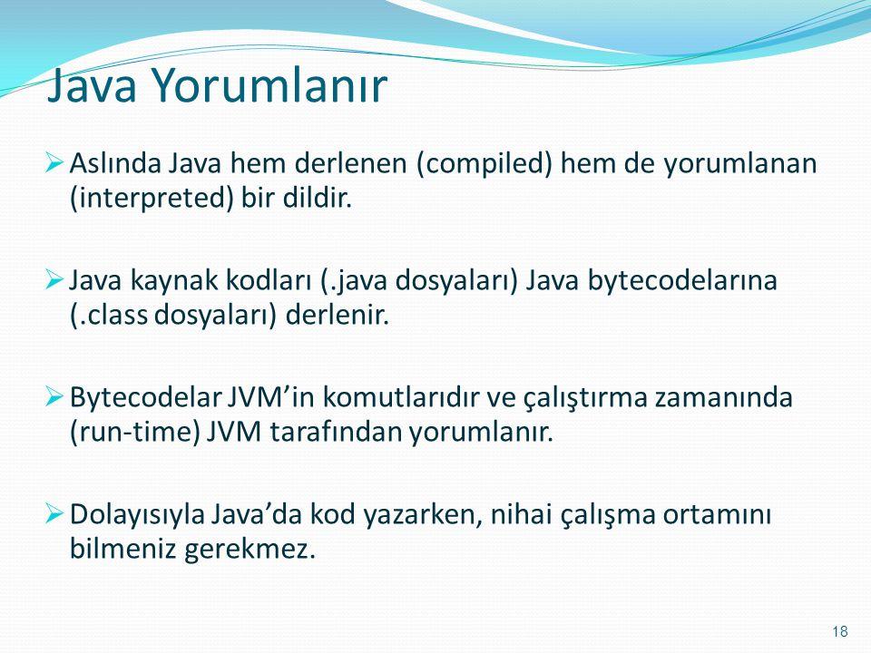 Java Yorumlanır  Aslında Java hem derlenen (compiled) hem de yorumlanan (interpreted) bir dildir.  Java kaynak kodları (.java dosyaları) Java byteco