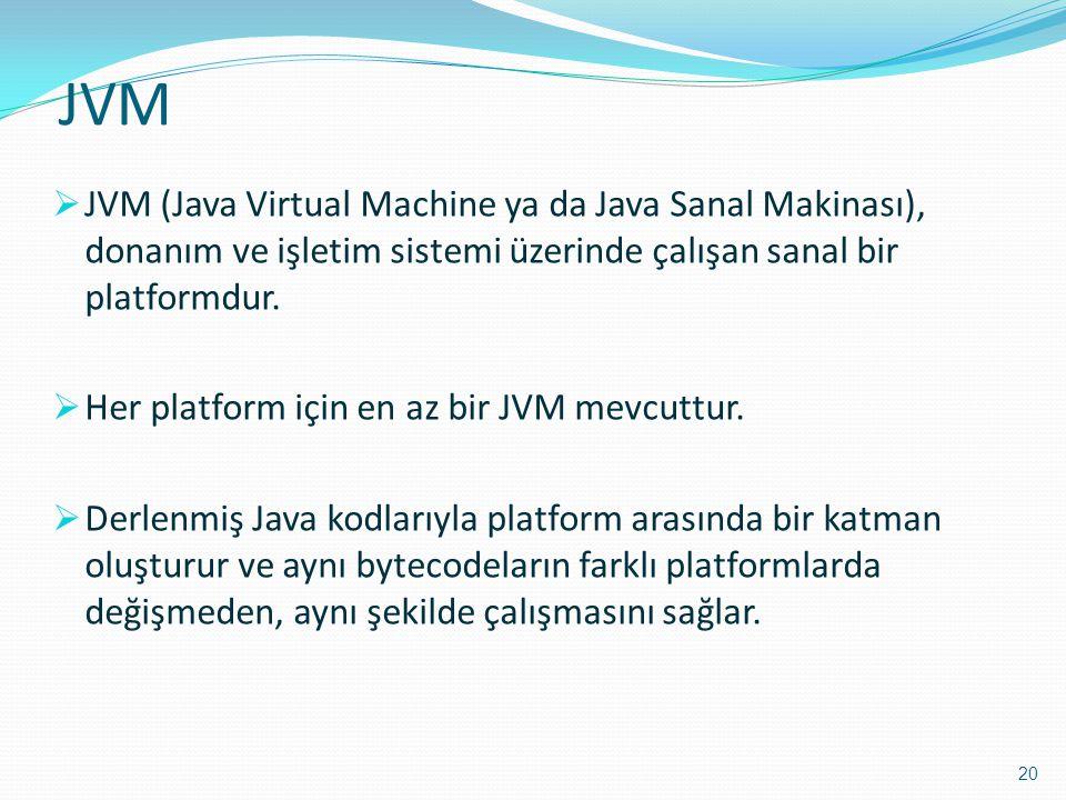 JVM  JVM (Java Virtual Machine ya da Java Sanal Makinası), donanım ve işletim sistemi üzerinde çalışan sanal bir platformdur.  Her platform için en