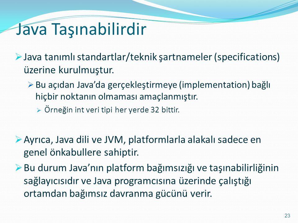 Java Taşınabilirdir  Java tanımlı standartlar/teknik şartnameler (specifications) üzerine kurulmuştur.  Bu açıdan Java'da gerçekleştirmeye (implemen