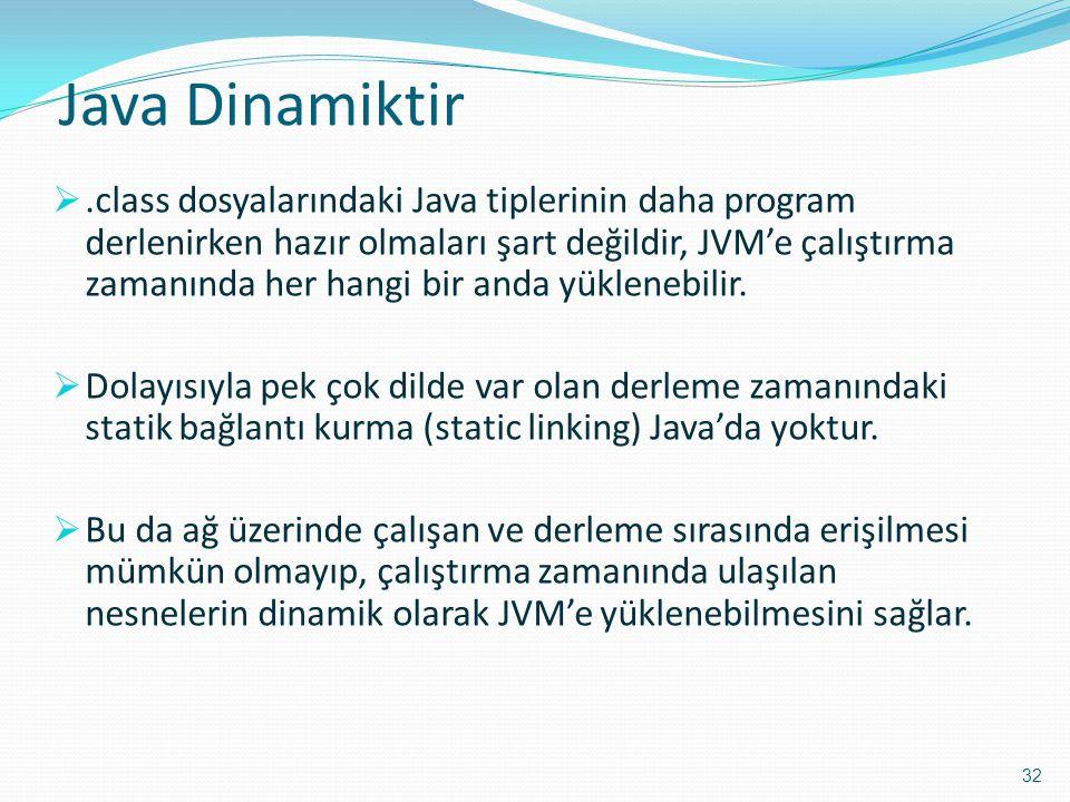 Java Dinamiktir .class dosyalarındaki Java tiplerinin daha program derlenirken hazır olmaları şart değildir, JVM'e çalıştırma zamanında her hangi bir