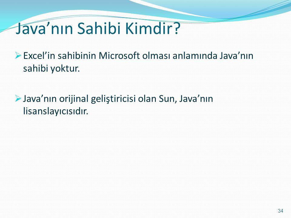 Java'nın Sahibi Kimdir?  Excel'in sahibinin Microsoft olması anlamında Java'nın sahibi yoktur.  Java'nın orijinal geliştiricisi olan Sun, Java'nın l