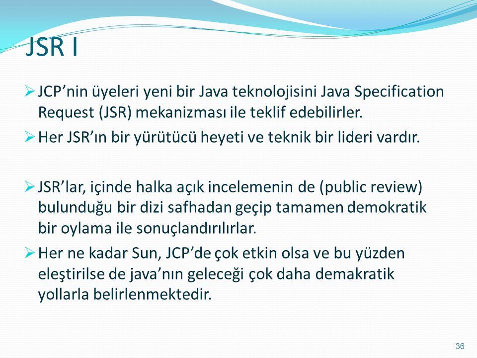 JSR I  JCP'nin üyeleri yeni bir Java teknolojisini Java Specification Request (JSR) mekanizması ile teklif edebilirler.  Her JSR'ın bir yürütücü hey